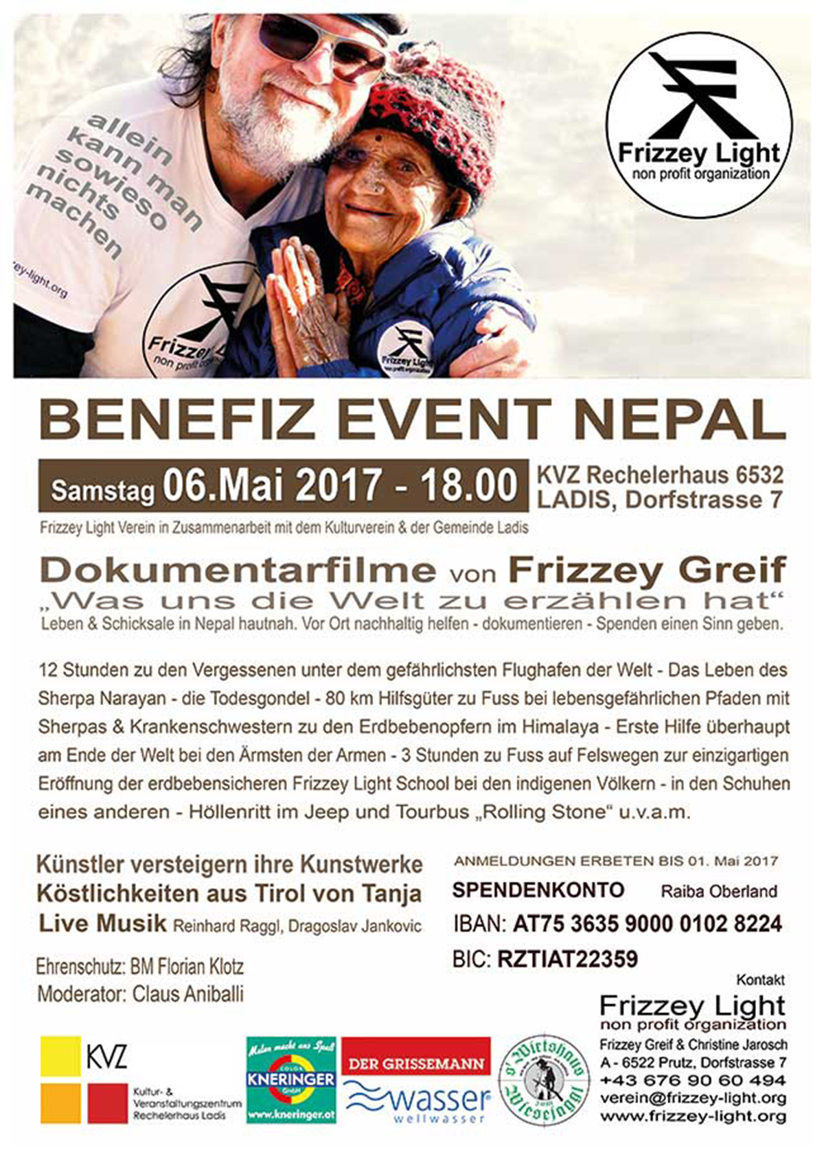Plakat Nepal-Benefiz-Event von Frizzey Greif in Ladis